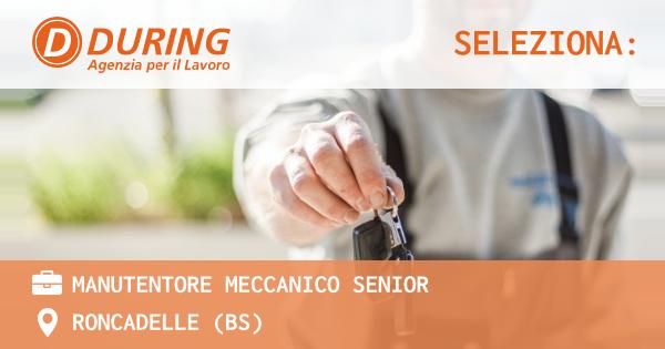 OFFERTA LAVORO - MANUTENTORE MECCANICO SENIOR - RONCADELLE (BS)