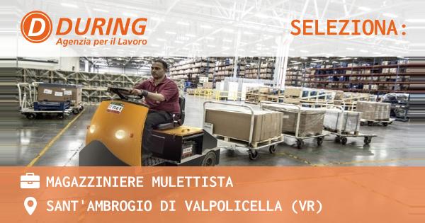 OFFERTA LAVORO - MAGAZZINIERE MULETTISTA - SANT'AMBROGIO DI VALPOLICELLA (VR)