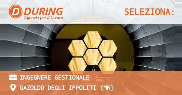 OFFERTA LAVORO - INGEGNERE GESTIONALE - GAZOLDO DEGLI IPPOLITI (MN)