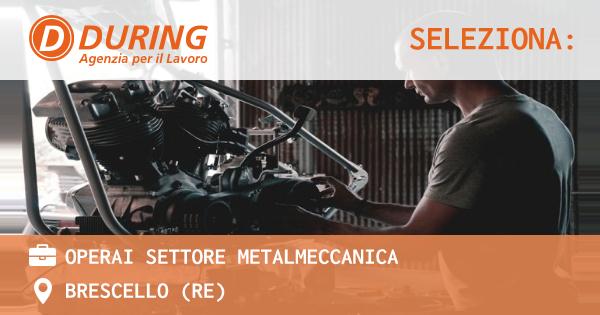 OFFERTA LAVORO - operai settore metalmeccanica - BRESCELLO (RE)