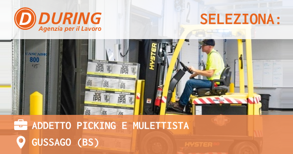 OFFERTA LAVORO - ADDETTO PICKING E MULETTISTA - GUSSAGO (BS)