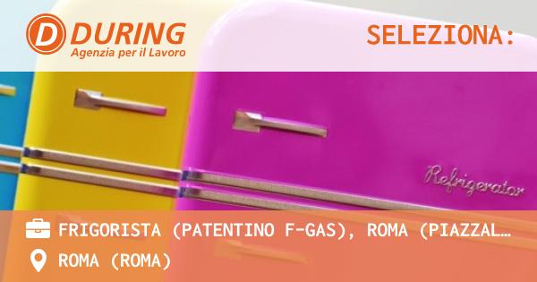OFFERTA LAVORO - FRIGORISTA (PATENTINO F-GAS), ROMA (PIAZZALE OSTIENSE) - ROMA (Roma)