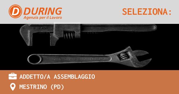 OFFERTA LAVORO - ADDETTO/A ASSEMBLAGGIO - MESTRINO (PD)