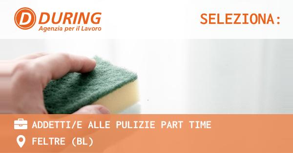 OFFERTA LAVORO - ADDETTI/E ALLE PULIZIE PART TIME - FELTRE (BL)